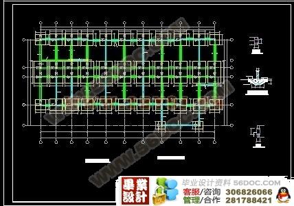 某五层学校实训楼教室建筑结构设计图(含水暖)